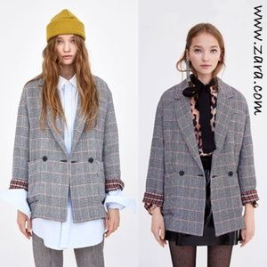 Zara TRF Oversized Black & Orange Plaid Blazer S-M